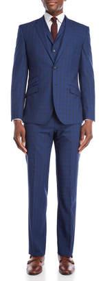 English Laundry 3-Piece Bright Blue Windowpane Wool Suit