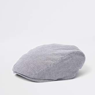 River Island Mens Grey puppytooth quilted flat cap