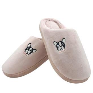 d0e74ba3dcc0 WOOALT Animal Slippers for Women Warm Cute Embroidered Dog Shoes Soft Cozy  Slipper Winter Indoor