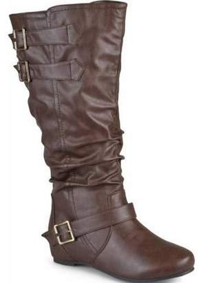 Women s Extra Wide Calf Buckle Slouch Low-wedge Boots f386d76432