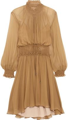 Chloé - Smocked Silk-crepon Mini Dress - Light brown