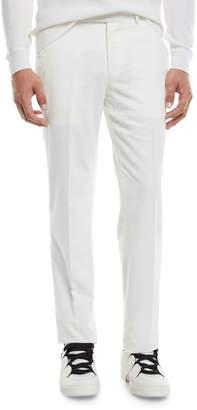 Ermenegildo Zegna Men's Flat-Front Cotton/Cashmere Corduroy Trousers, White