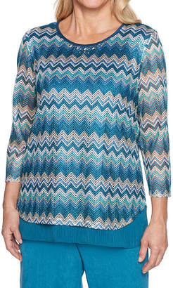 Alfred Dunner Victoria Falls 3/4 Sleeve Layered Top