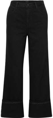 J Brand Joan Cropped High-rise Wide-leg Jeans - Black