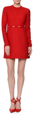 Valentino Long-Sleeve Cutout-Waist W/Bows Dress, Red $1,794 thestylecure.com