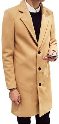 OUYE Men's Single Breasted Casual Long Trench Coat Large