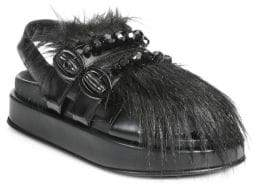 Simone Rocha Chunky Beaded Faux-Fur Slides