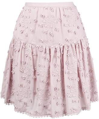 See by Chloe floral embroidered pleated skirt