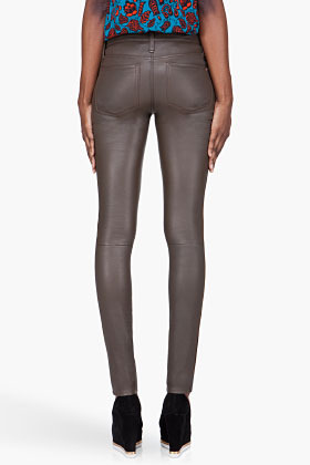 Marc by Marc Jacobs brown suede-accented Mirah Leather leggings