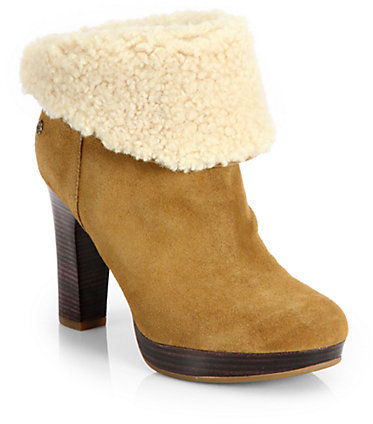 UGG Shearling-Trimmed Suede Fold-Over Boots