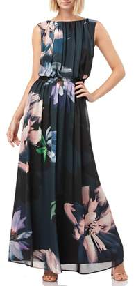 Kay Unger Floral Print Chiffon Gown