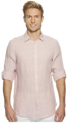 Perry Ellis Solid Linen Roll Sleeve Shirt Men's Clothing