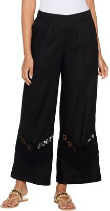 GRAVER Susan Graver Linen Ankle Pants w/ Crochet Details