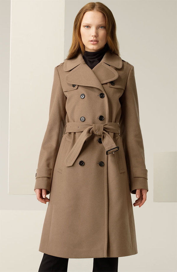 Burberry Double Breasted Wool Blend Trench
