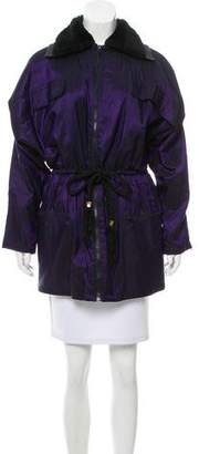 Gianni Versace Leather-Trimmed Iridescent Coat