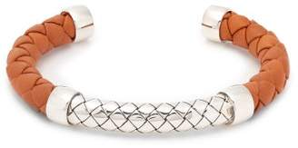 Bottega Veneta Intrecciato Leather And Sterling Silver Cuff - Mens - Orange