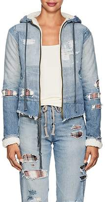 Greg Lauren Women's Sherpa-Lined Patchwork Denim Hoodie