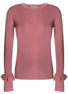 Nina Ricci Ruffle-Trimmed Stretch-Knit Wool Top