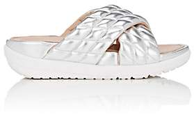 FitFlop LIMITED EDITION Women's Quilted Metallic Leather Slide Sandals-Silver