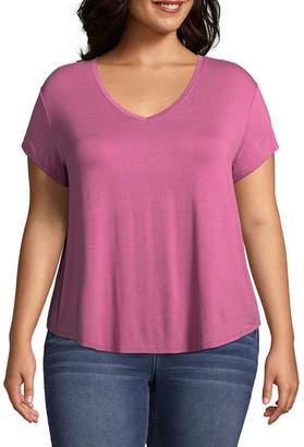 Arizona Short Sleeve V Neck T-Shirt-Womens Juniors Plus