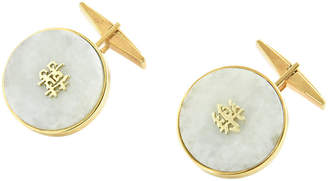 One Kings Lane Vintage 1950s Chinese Jade & Gold Cuff Links