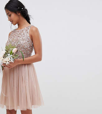 Maya Petite Bridesmaid Sleeveless Sequin Bodice Tulle Detail Mini Bridesmaid Dress With Cutout Back