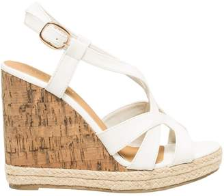 Le Château Women's Faux Leather T-Strap Wedge Sandal