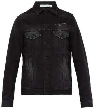 Off-White Off White Impressionism Print Jersey Panel Denim Jacket - Mens - Black