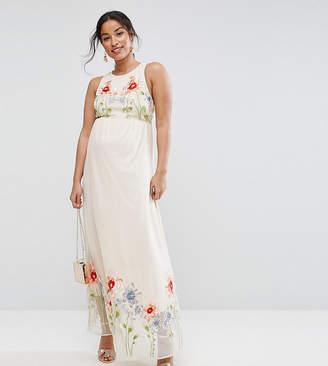 Asos Embroidery Mesh Maxi Dress