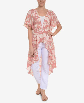NY Collection Floral-Print High-Low Cardigan