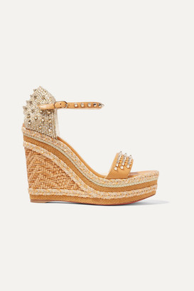 Christian Louboutin Madmonica 120 Spiked Raffia And Leather Espadrille Wedge Sandals - IT34