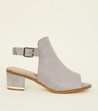 New Look Wide Fit Grey Suedette Peep Toe Block Heels 3d3e8be8ec84