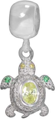 Individuality Beads Sterling Silver Light Green Cubic Zirconia & Crystal Turtle Charm