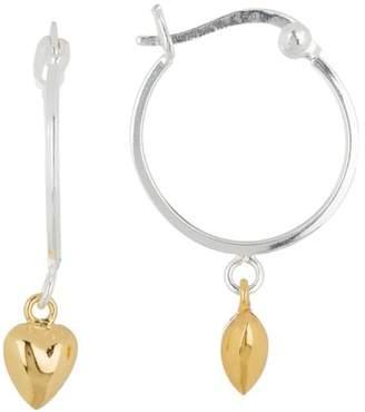 Argentovivo Two-Tone Sterling Silver Heart Dangle Earrings