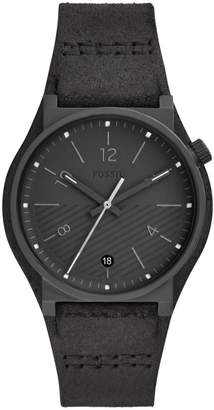 Fossil Barstow Three-Hand Black Leather Watch
