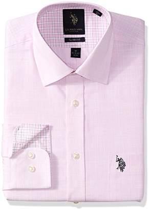 U.S. Polo Assn. Men's Slim Fit Check Or Plaid Semi Spread Collar Dress Shirt