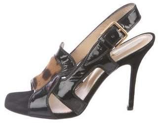Saint Laurent Patent Leather Slingback Sandals