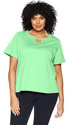 Alfred Dunner Women's Plus-Size Solid Beaded Horseshoe T-Shirt