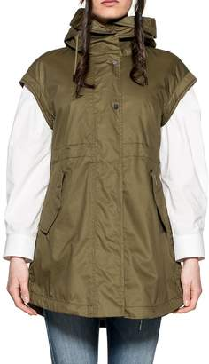 Woolrich Army Green Hooded Vest
