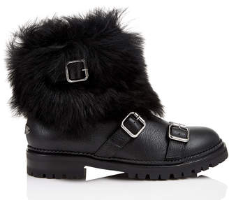 Jimmy Choo HANK FLAT Black Grainy Leather Flat Boots with Black Shearling