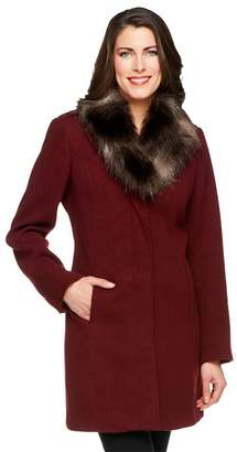 Dennis Basso Faux Wool Coat with Removable Faux Fox Fur Collar