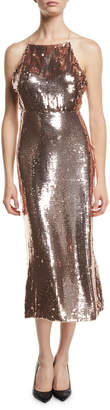 Jason Wu Square-Neck Sleeveless Sequined Apron Cocktail Dress