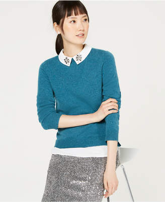 Charter Club Pure Cashmere Embellished Layered-Look Sweater