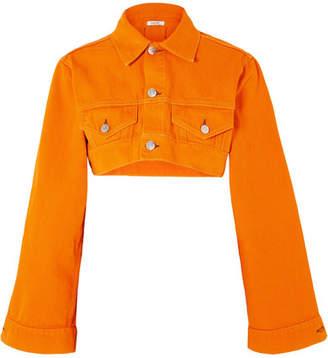Ganni Cropped Denim Jacket - Orange