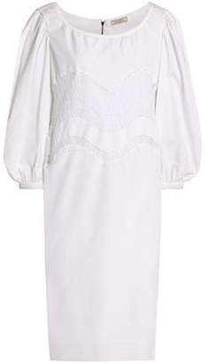 Nina Ricci Chantilly Lace-Trimmed Cotton-Poplin Dress