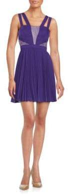 BCBGMAXAZRIA Pleated Lace Inset Dress