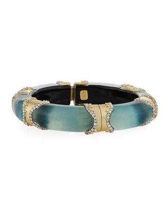 Alexis Bittar Metal/Lucite Pave Hinge Bracelet, Blue