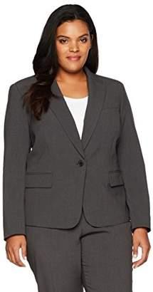 Anne Klein Women's Plus Size Solid 1 Button Jacket