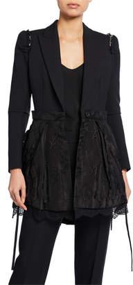 Alexander McQueen Ruffled-Shoulder Lace-Peplum Blazer