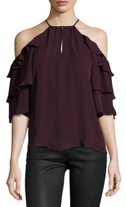 Parker Cindy Cold-Shoulder Silk Top, Plumwine $198 thestylecure.com